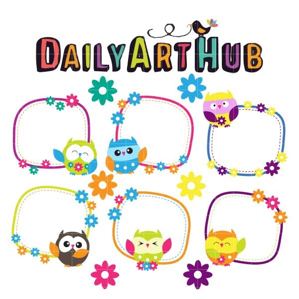 cute owl cards clip art set daily