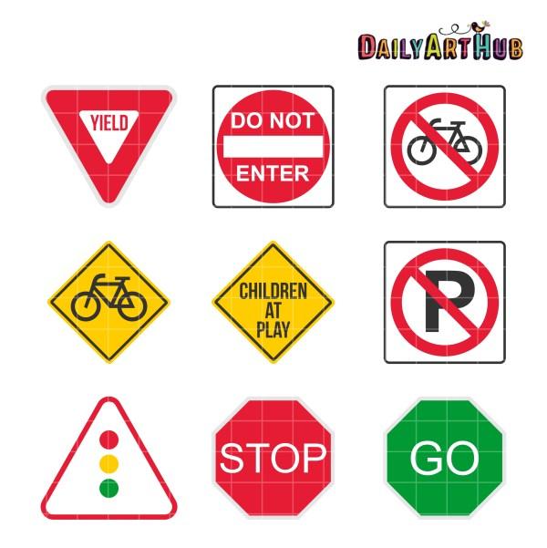 9 Road Signs Clip Art Set Daily Hub Free