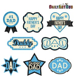 father s day labels clip art set [ 2664 x 2670 Pixel ]