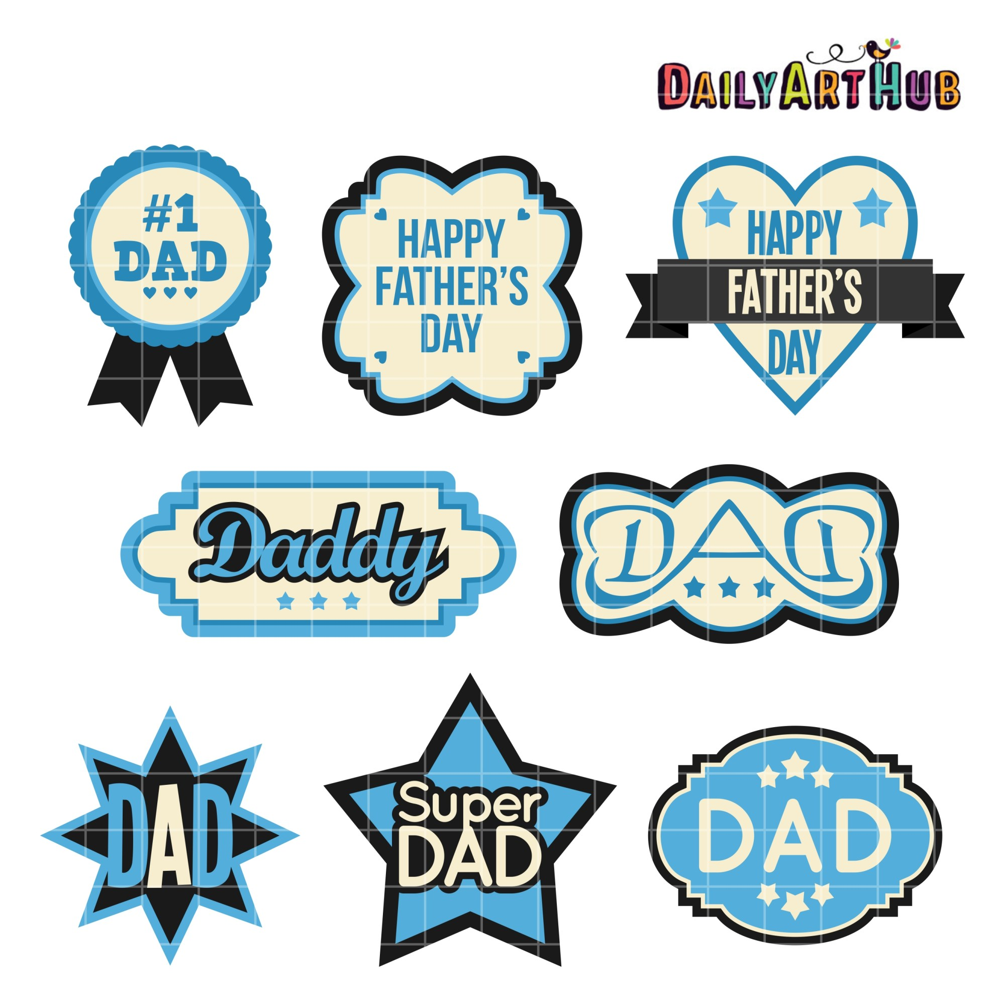 hight resolution of father s day labels clip art set