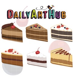 yummy slice of cake clip art set [ 1650 x 1650 Pixel ]