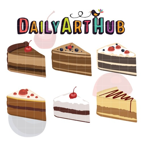 small resolution of yummy slice of cake clip art set
