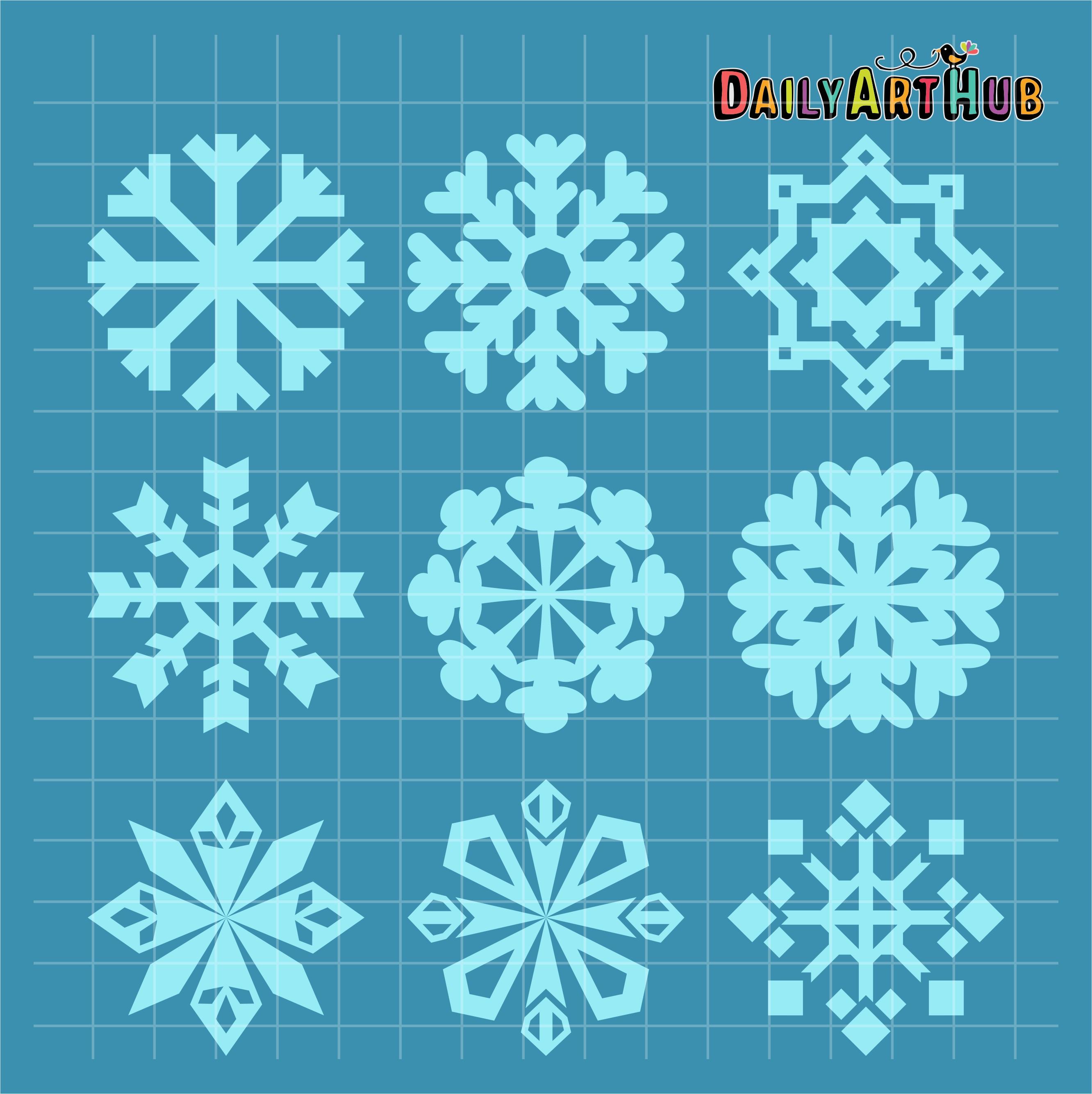 Snowflake Shapes Clip Art Set Daily Art Hub Free Clip
