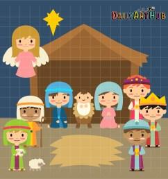 nativity scene clip art set [ 2664 x 2670 Pixel ]