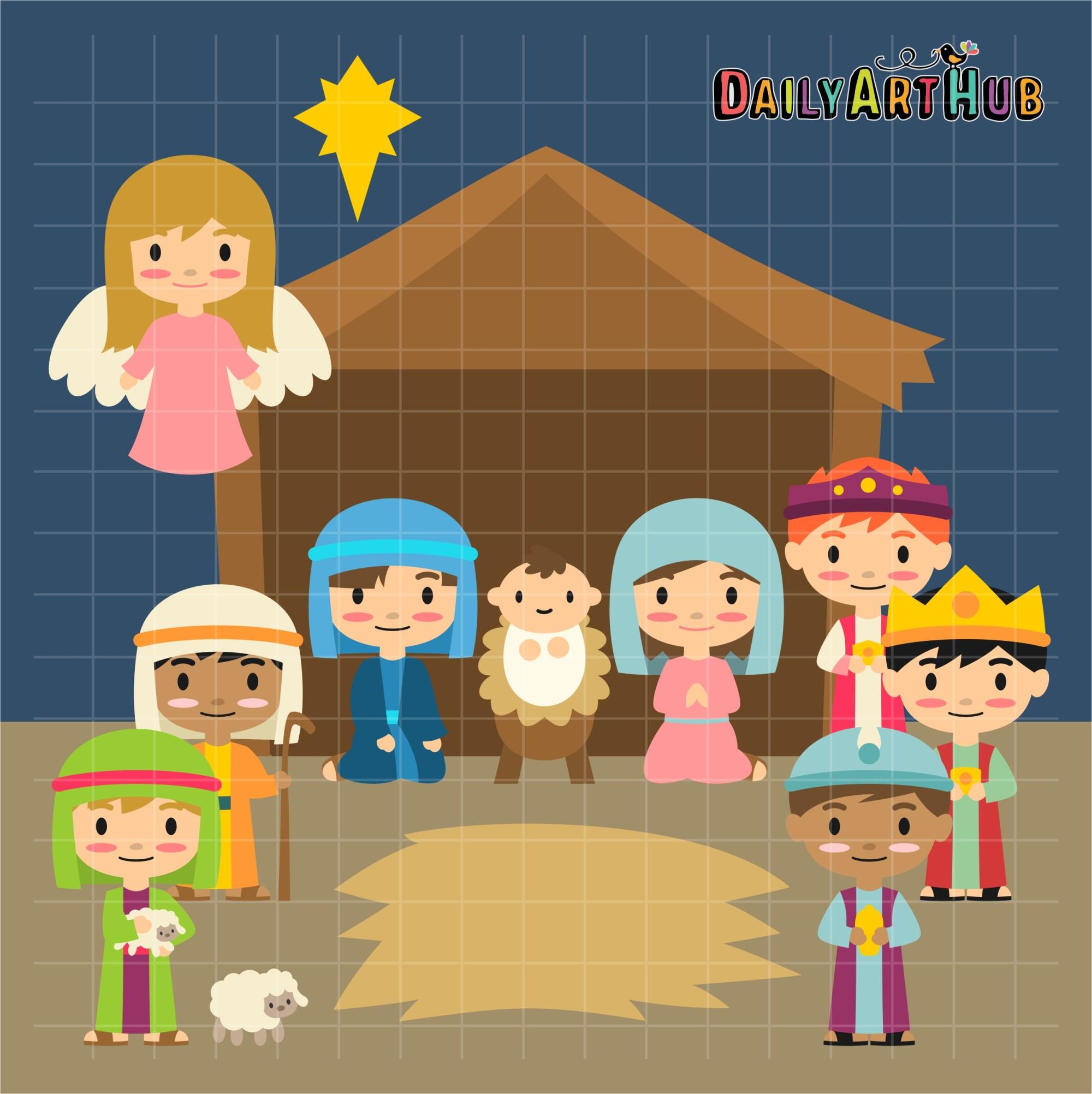 hight resolution of nativity scene clip art set