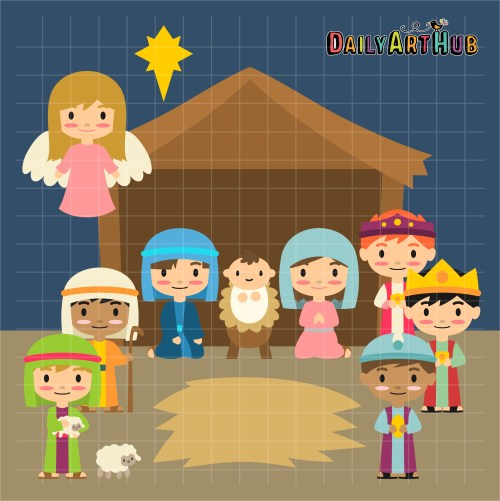 small resolution of nativity scene clip art set