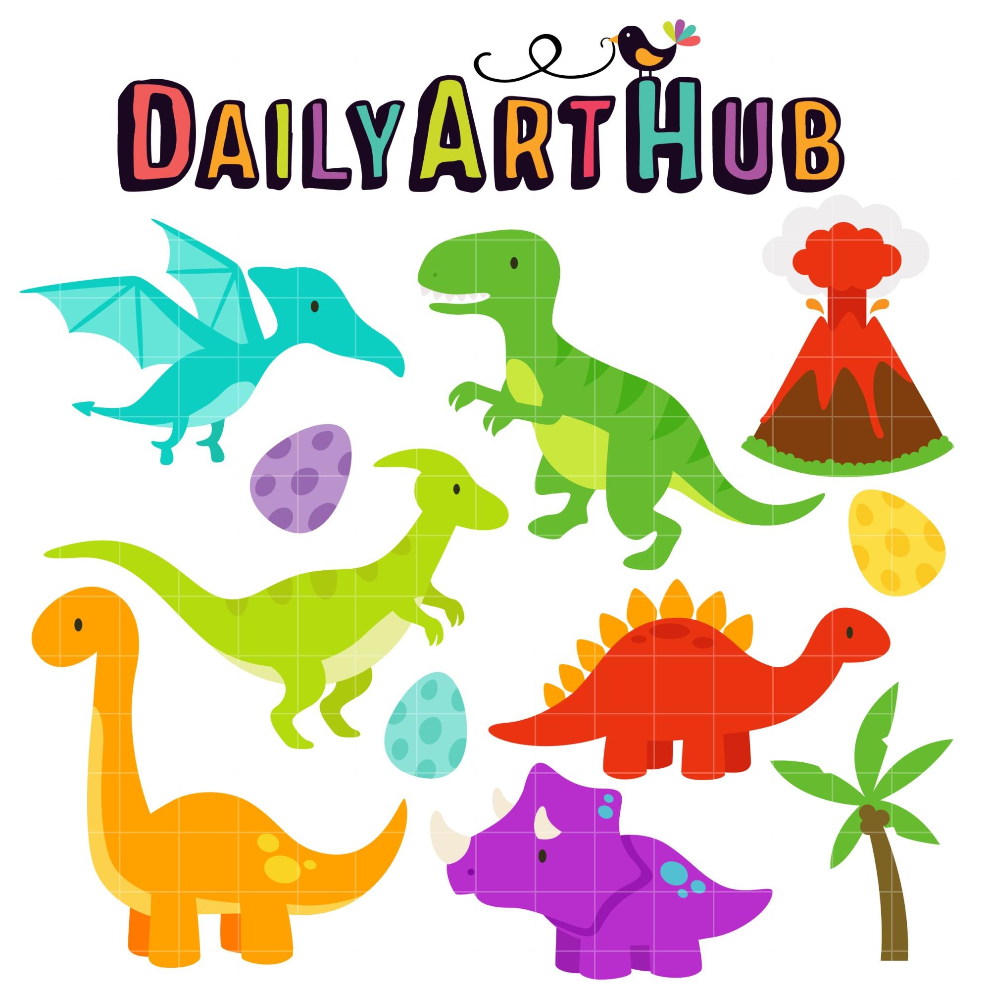 hight resolution of cute dinosaurs clip art set