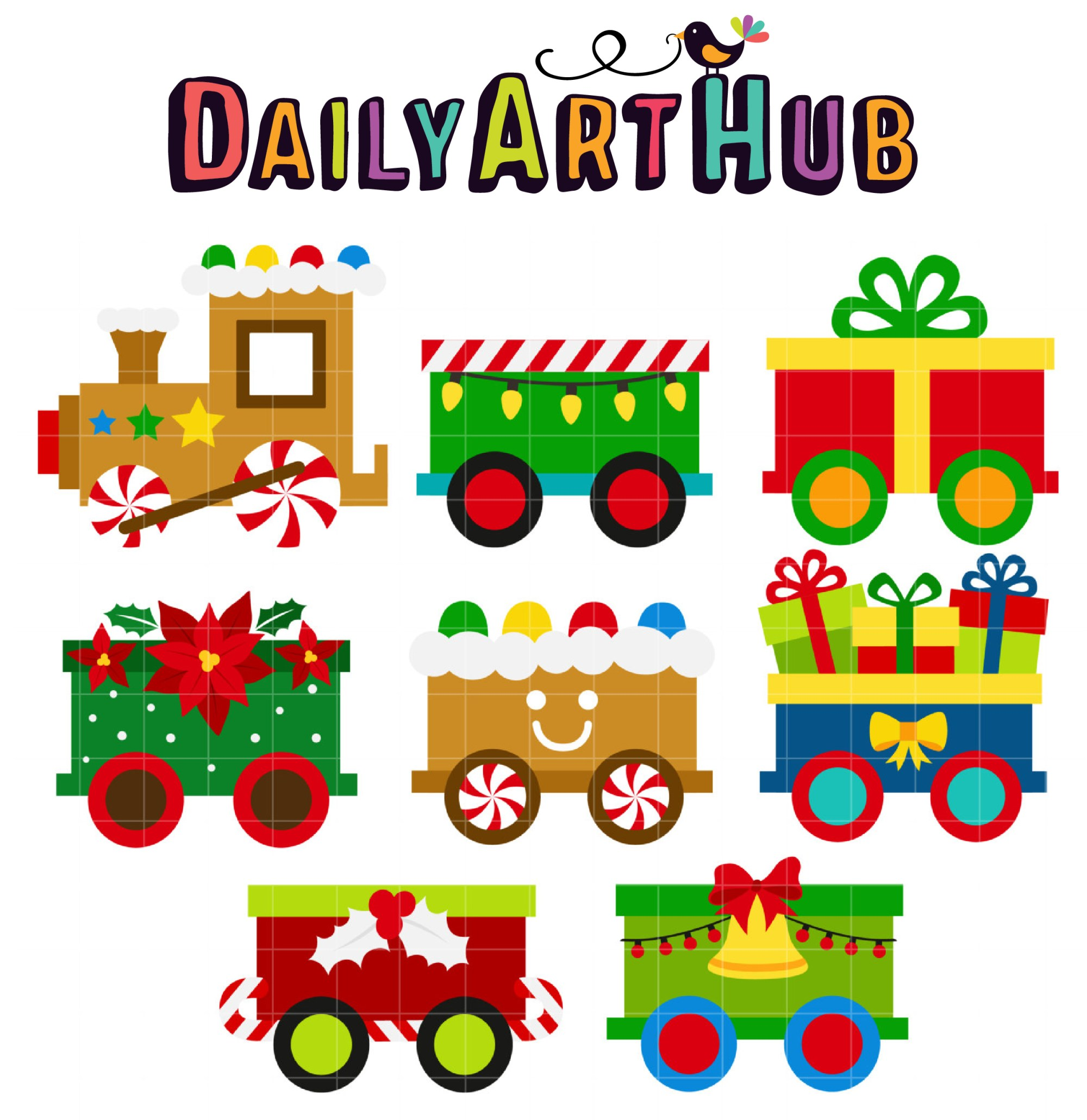 hight resolution of christmas train clip art set