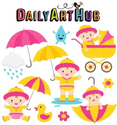 baby girl april shower clip art set [ 2497 x 2496 Pixel ]