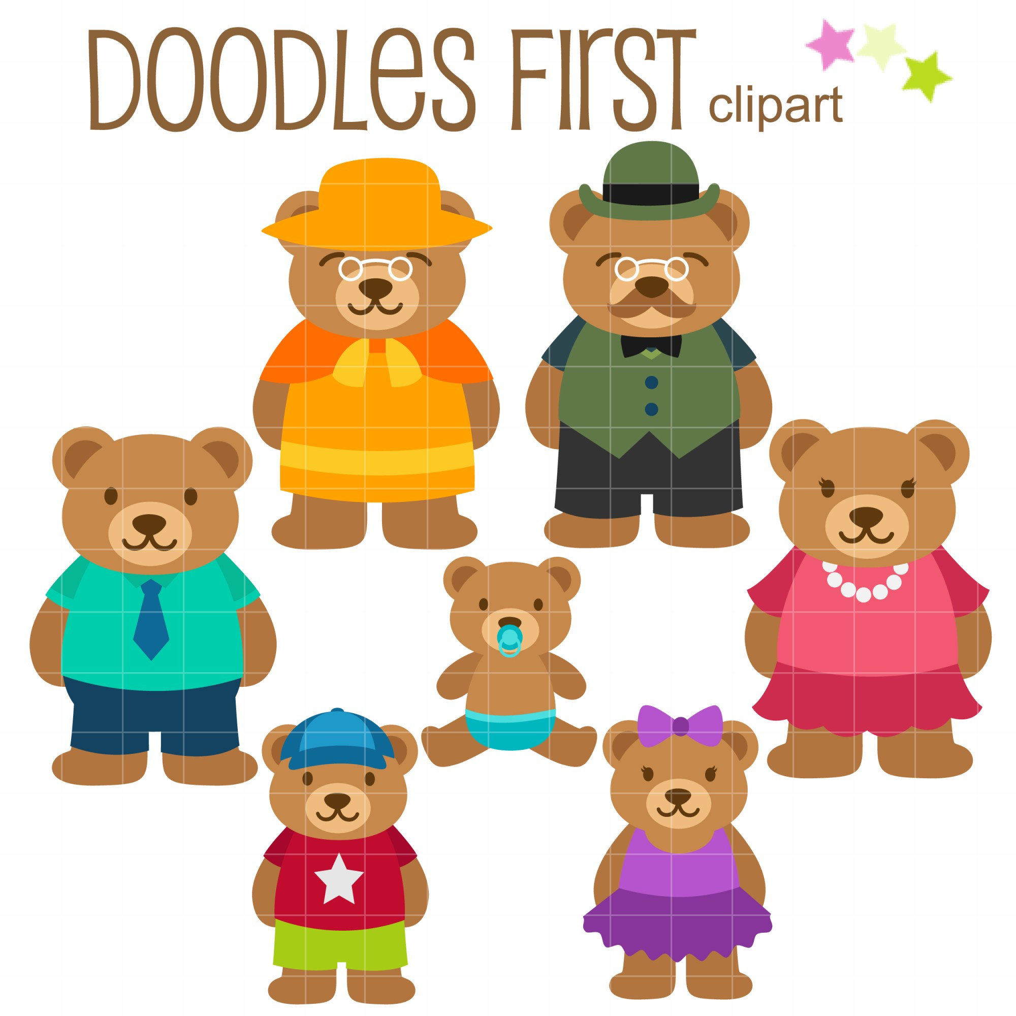 hight resolution of bear family clip art set