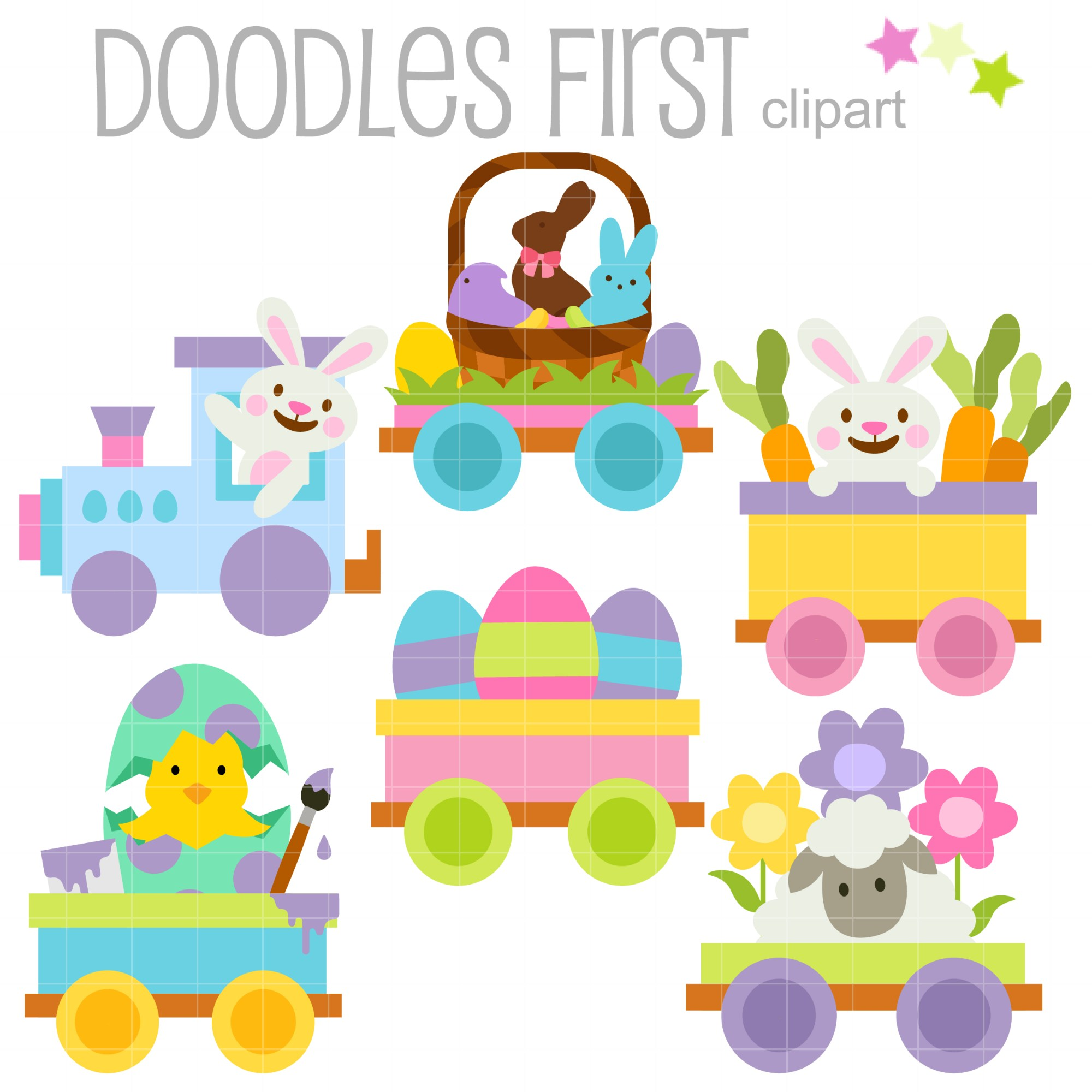 hight resolution of happy easter train clip art set