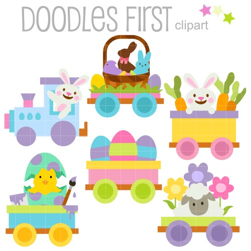 small resolution of happy easter train clip art set
