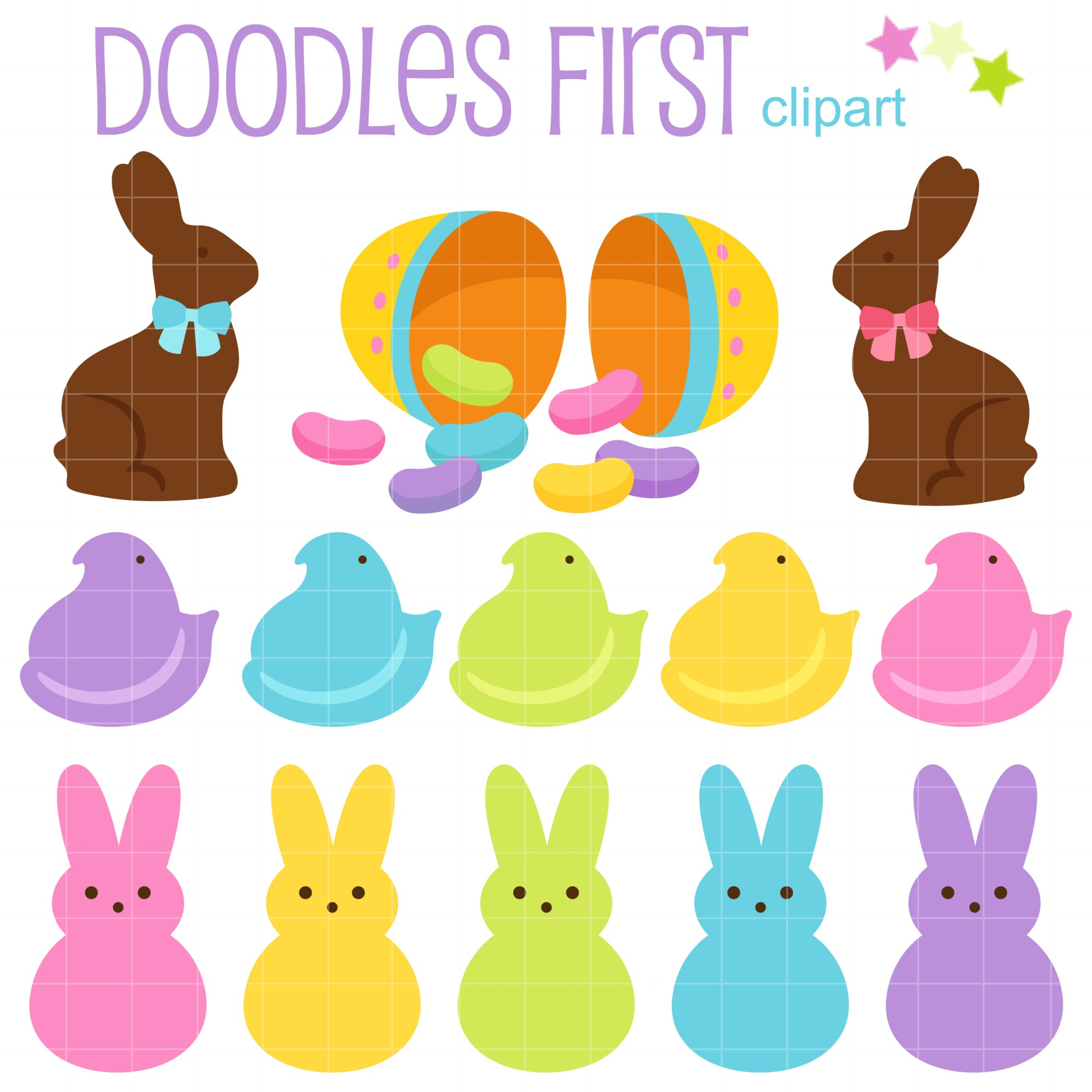 hight resolution of bunny treats peeps clip art set