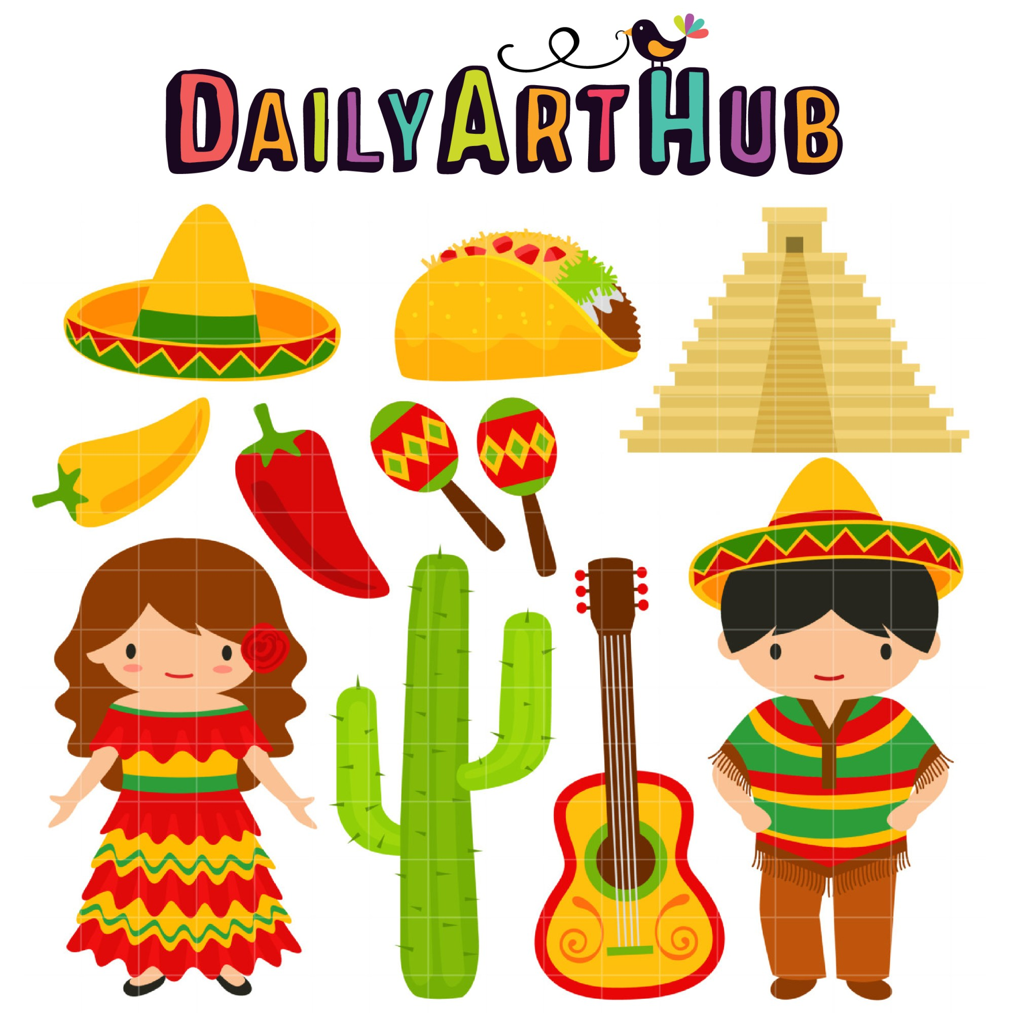 hight resolution of hola mexico clip art set