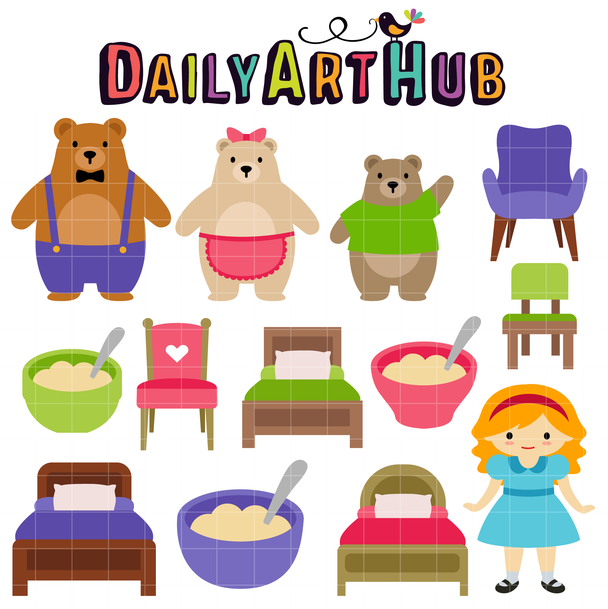 Goldilocks And The Three Bear Clip Art Set Daily Art Hub