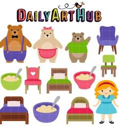 goldilocks and the three bear clip art set [ 2500 x 2501 Pixel ]
