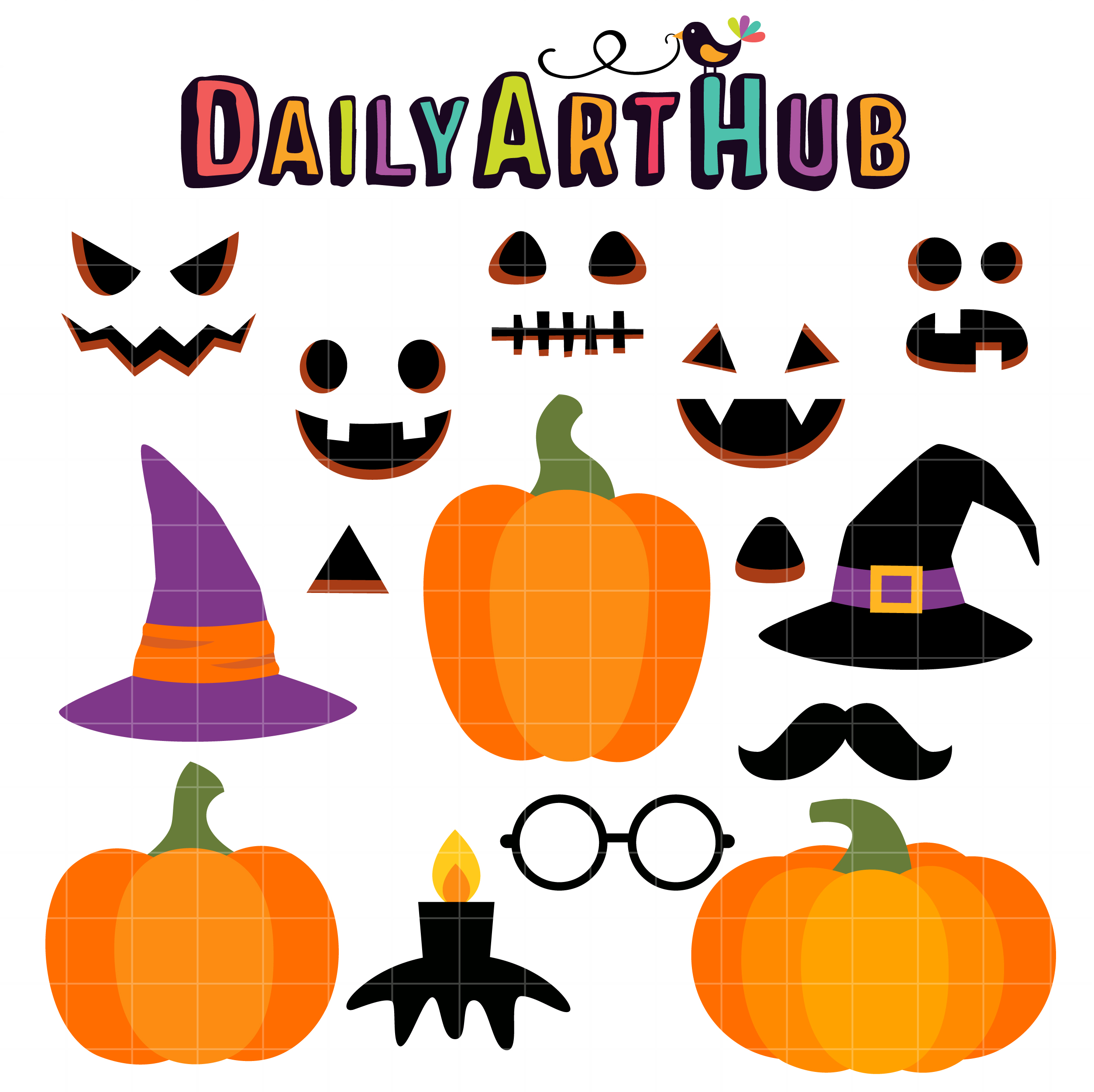 Build Your Own Jack O Lantern Clip Art Set Daily Art Hub