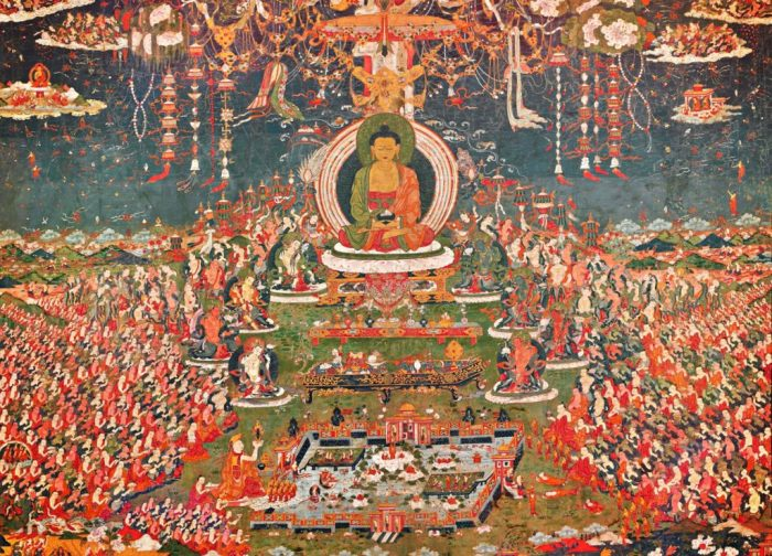 painting with Buddha Amitabha surrounded by eight great bodhisattvas and many other attendants in the paradise