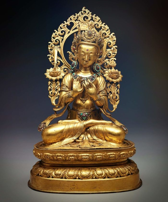 eight great bodhisattvas, gilded sculpture of Manjushri, the bodhisattva of wisdom, sitting on a lotus flower