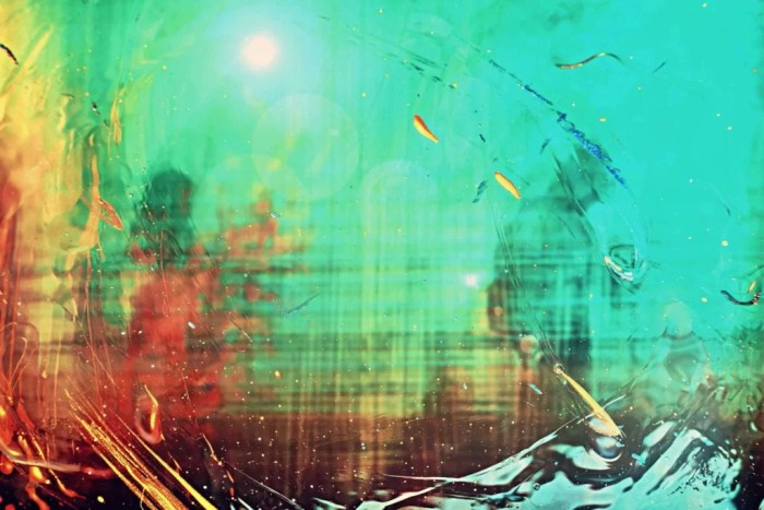 the boundless gates of dharma, photo in an abstract style with green, read and yellow colors