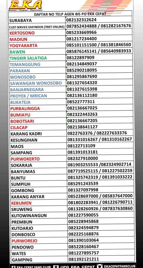 Jadwal Dan Tarif Serta Rute Bus Eka Mira Terbaru 2019