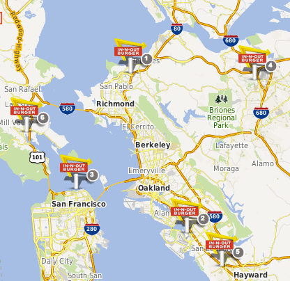Five ways to get around the Bay Area, but especially to In-N ... In N Out Map on carl's jr map, shale gas locations map, verizon map, playa d'en bossa map, in and out burger map, taco bell map, burger king map, msn map, los angeles map, jack in the box map, facebook map, in and out locations map,