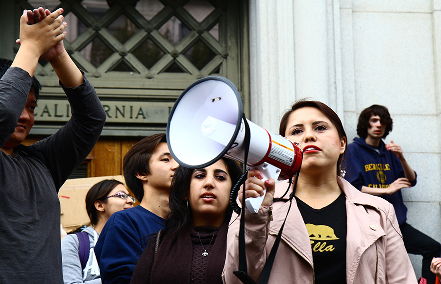 UC workers and students protest Regents meeting