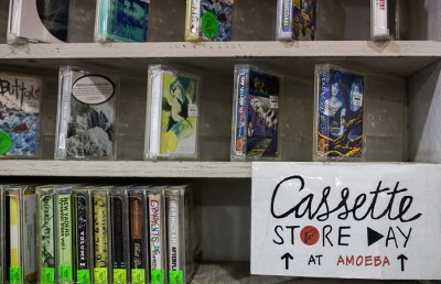 The store features a vast collection of cassettes.