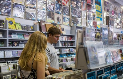Lilly Wedbush, a UC Berkeley sophomore, and Kelly Blake, a Standford freshman, browse the CD section.