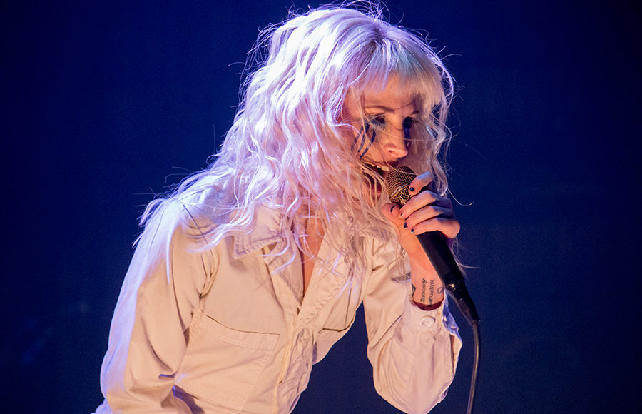 Paramore frontwoman Hayley Williams sings at the band's Paramount Theatre performance on Sunday.