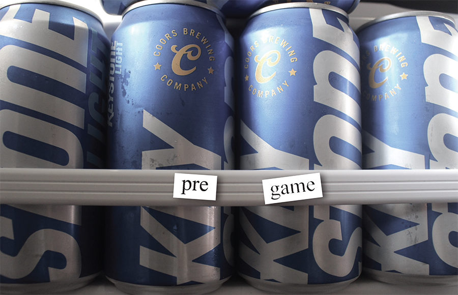 "Beer cans with words ""pre"" and ""game"""