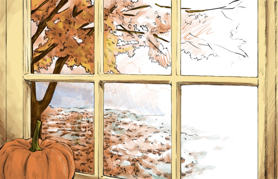 Illustration of a view outside the windowsill of a home, supporting a pumpkin and showing a tree of orange leaves.