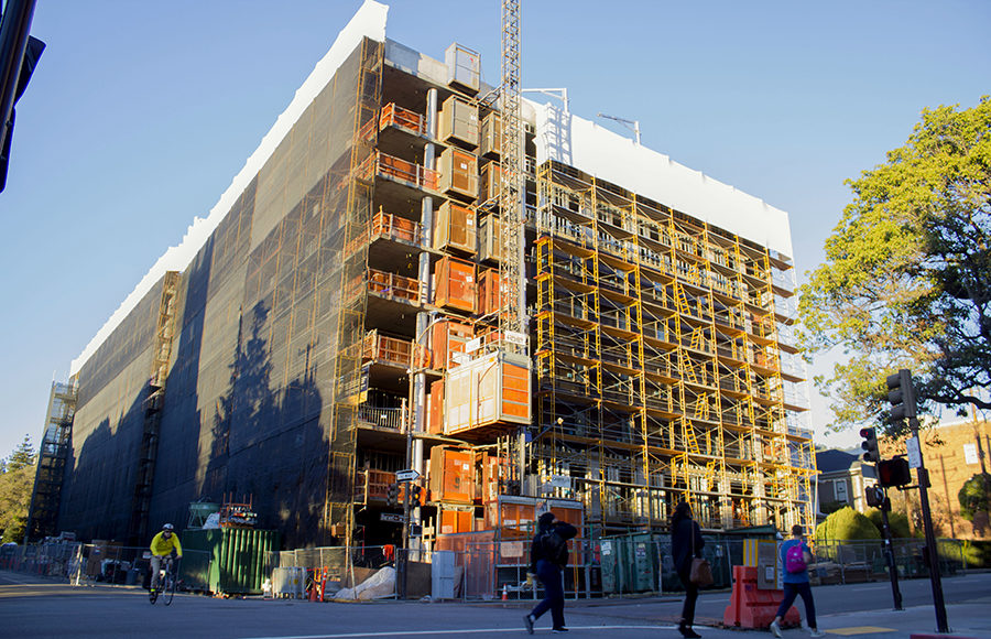 Construction site for the new Bancroft Residence Hall