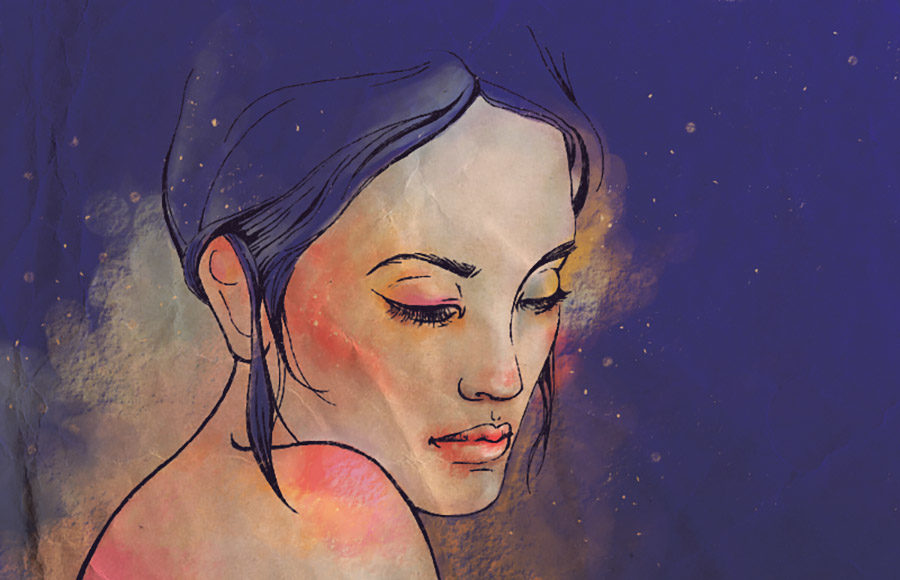 Illustration of a female face, with colors overlayed