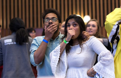 Current ASUC Senator Harshil Bansil reacts to the senate election results. Karen Chow/Staff