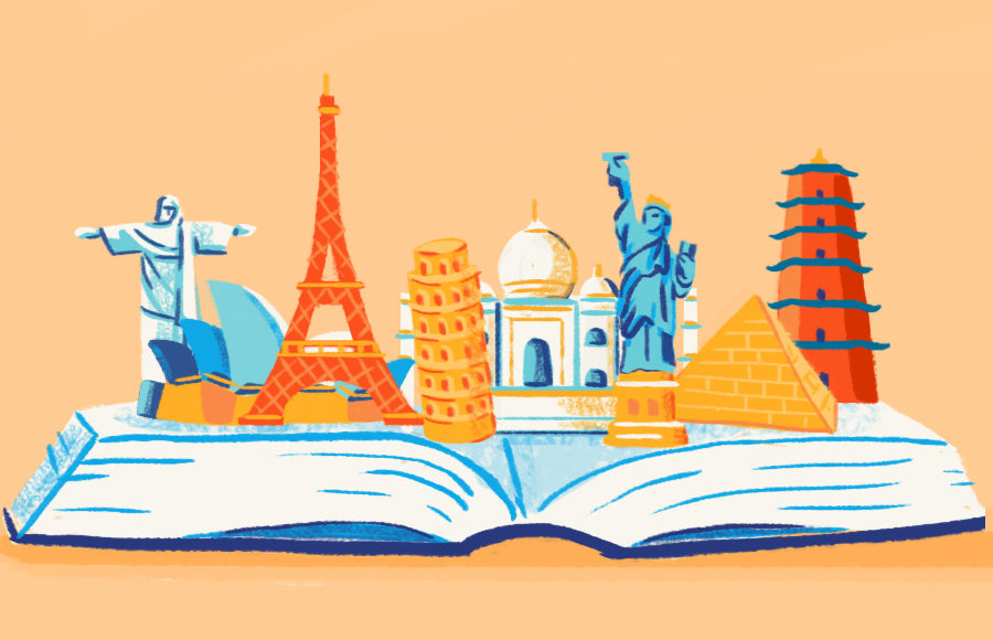 An open book with world monuments such as the Eiffel Tower and Statue of Liberty