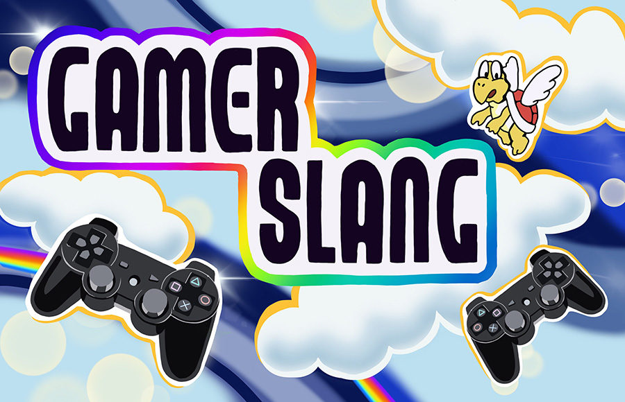 """Play station controllers and Koopa Paratroopa character with text that reads """"Gamer Slang"""""""