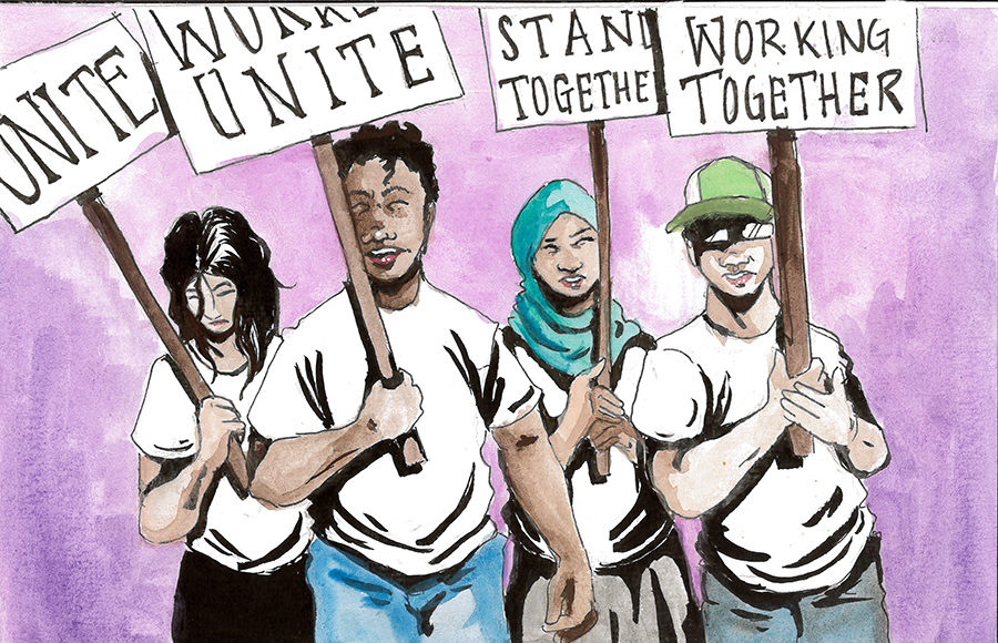 "Workers uniting together with signs that read ""UNITE, WORKERS UNITE, STAND TOGETHER, WORKING TOGETHER"""