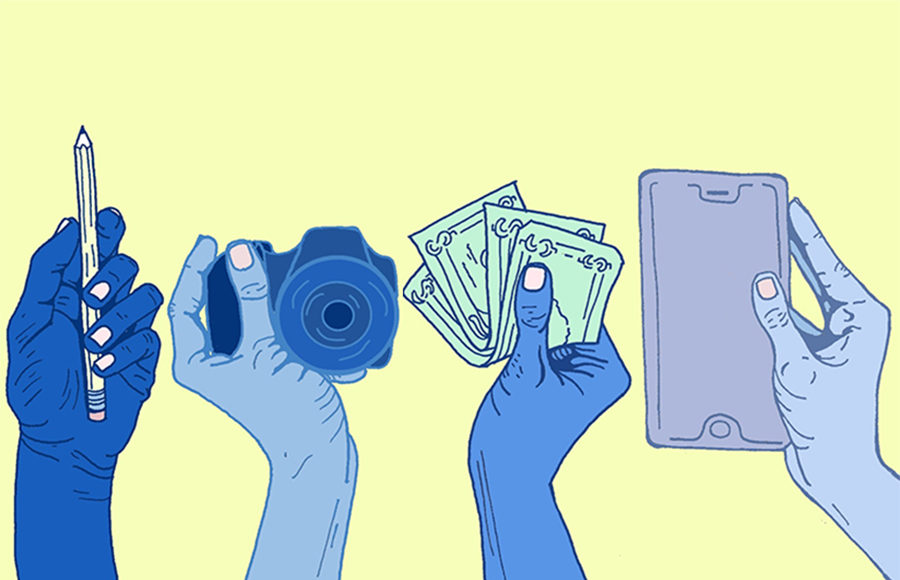 Four hands holding a pencil, camera, money, and phone
