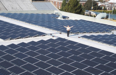 A woman stands among many solar panels.