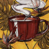 Drawing of a red coffee cup suspended in the air amongst leaves and flowers, with steam rising from the inside and