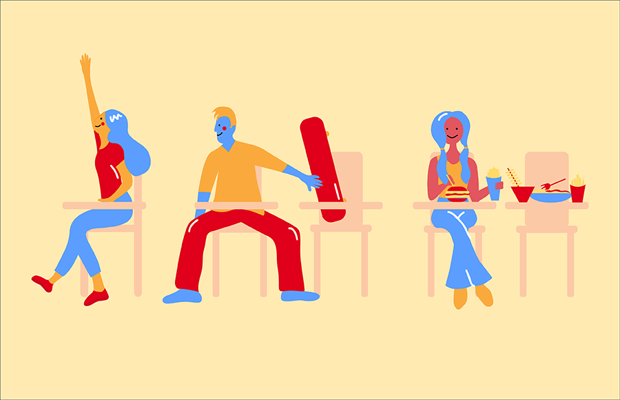 A person raising their hand, a person with a skateboard in the next seat, and a person eating a meal at a desk.