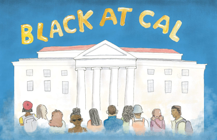 """A group of black students stand in front of Sproul Hall. Large yellow text at the top reads """"BLACK AT CAL."""""""