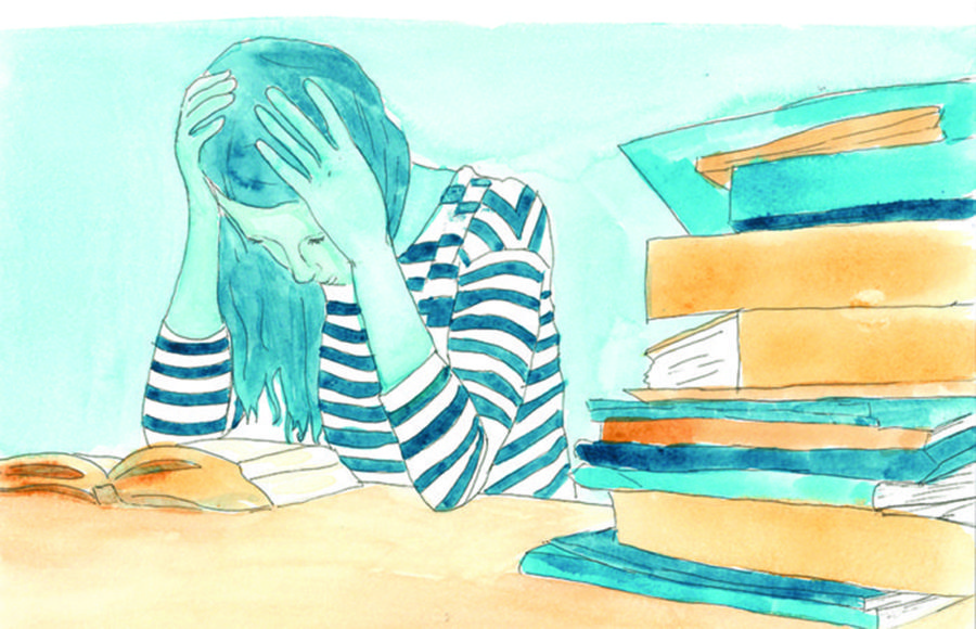 An illustration of a woman reading with her hands cradling her head and a large stack of books sitting next to her.