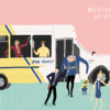 A Bear Transit bus with Steve Carell characters coming out of it