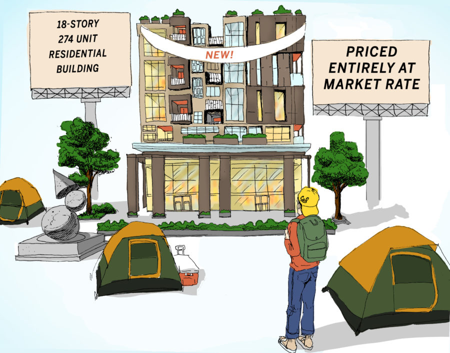 "Cal student looking at new apartments with billboards that read ""18 Story 274 Residential Building"" and ""Priced entirely at market rate"" with tents surrounding"