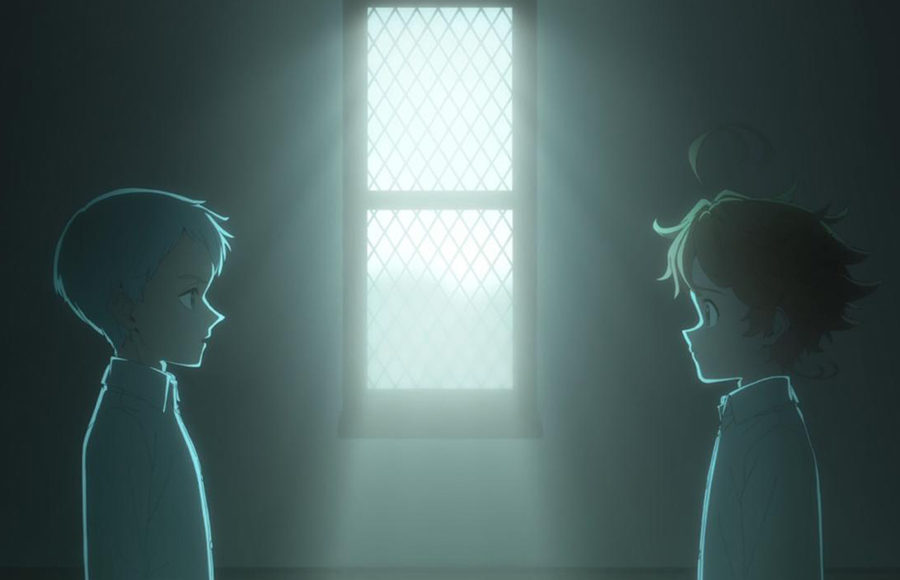 Two anime characters stand in a dark room, on each side of an illuminated window, and look at each other.