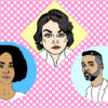 Comic style portraits of Nora Krug, Edgardo Miranda-Rodriguez, and Juliana Smith