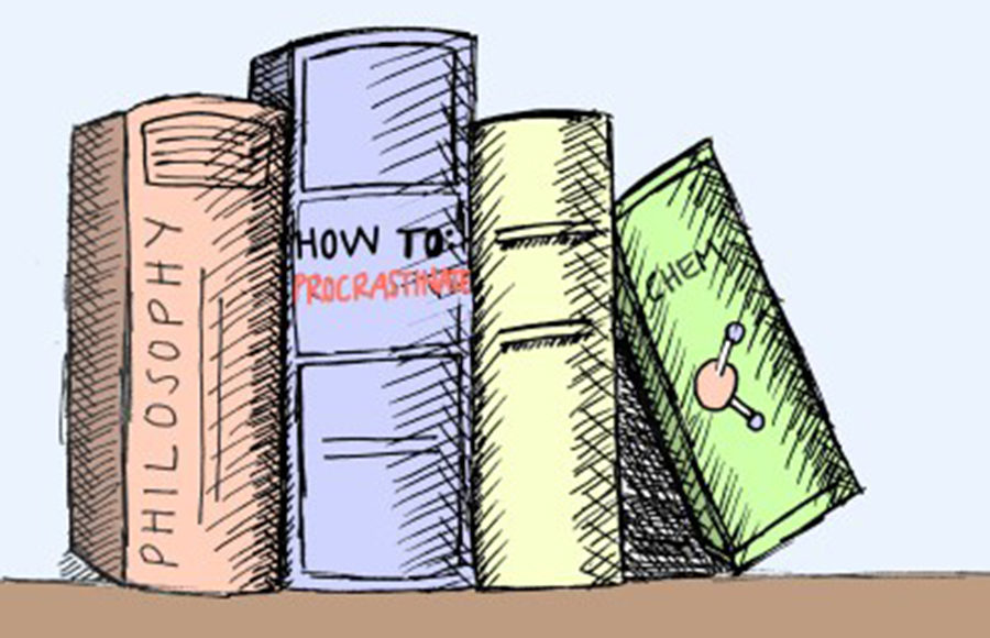 """An illustration of multicolored textbooks of subjects such as Philosophy, """"How to Procratinate"""", and Chemistry."""
