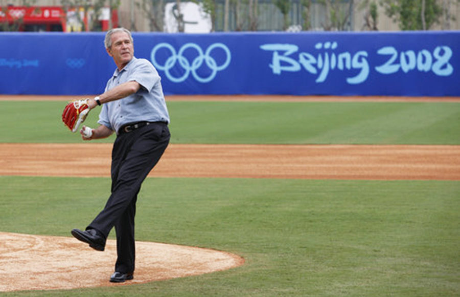 George W. Bush playing baseball